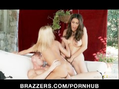 Horny blonde wife Devon blackmails busty Raylene into a threesome